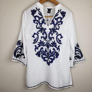 Yasb embroidered blouse white size Medium